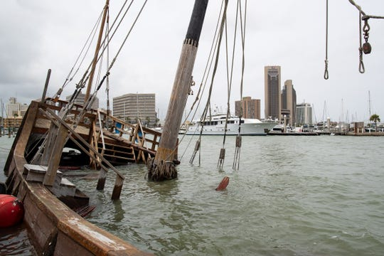 The replica of Columbus' La Niña ship sunk at the Corpus Christi Marina in April.