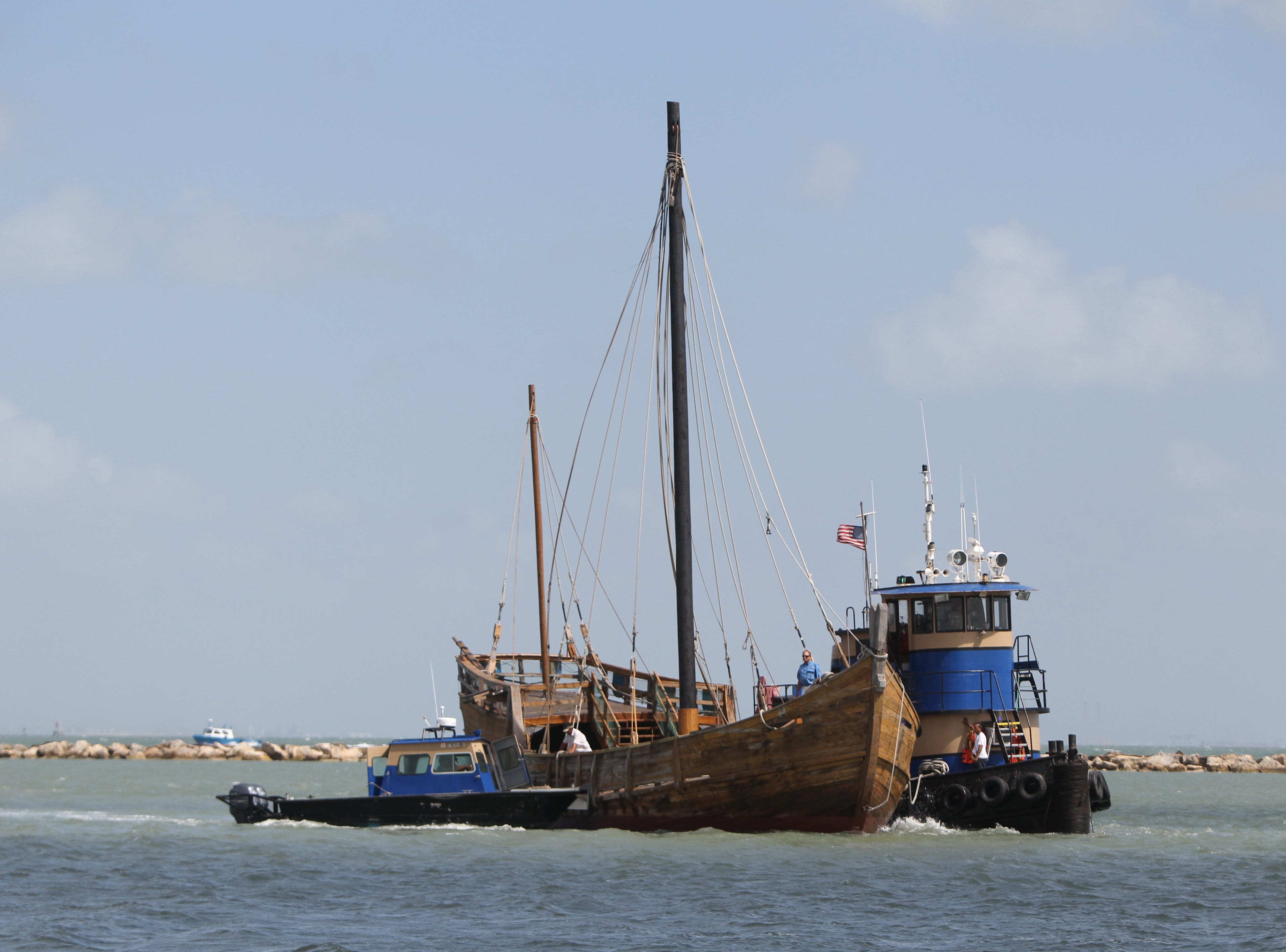 The last remaining Columbus Ship replica, La Nina, travels through Corpus Christi Bay on Friday, October 10, 2014 as it is prepared to be berthed at a new location at the Lawrence Street T-Head behind Joe's Crab Shack. The new location will allow for better protection from the elements, said Kim Mrazek, president of the Columbus Sailing Association.