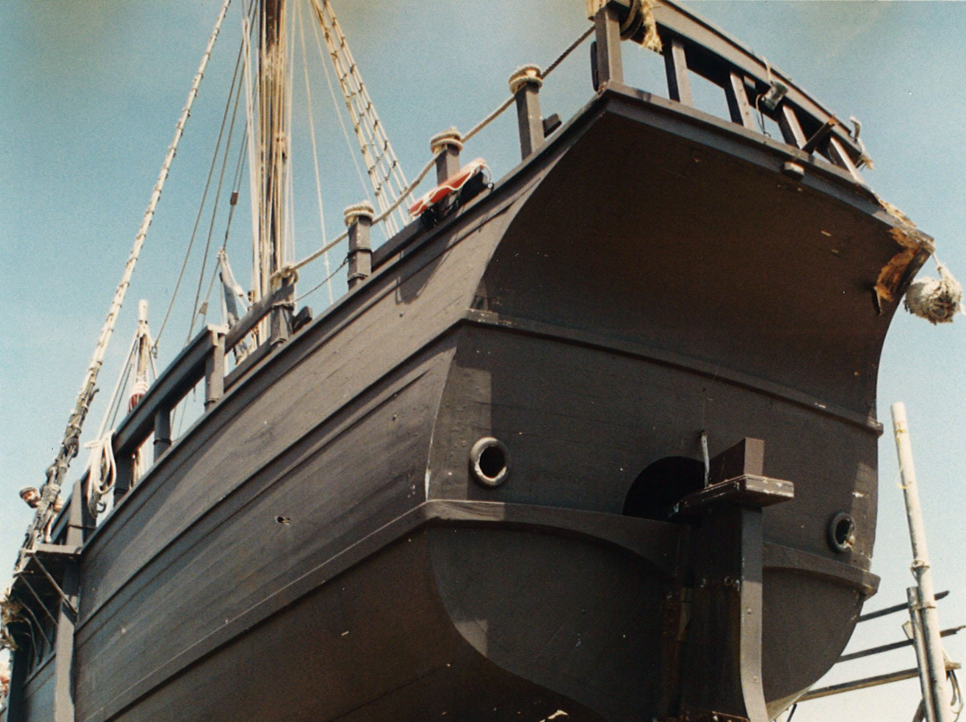 The Columbus ship, the Pinta, on dry dock at the Gulf King Shipyard in Aransas Pass on April 21, 1994.