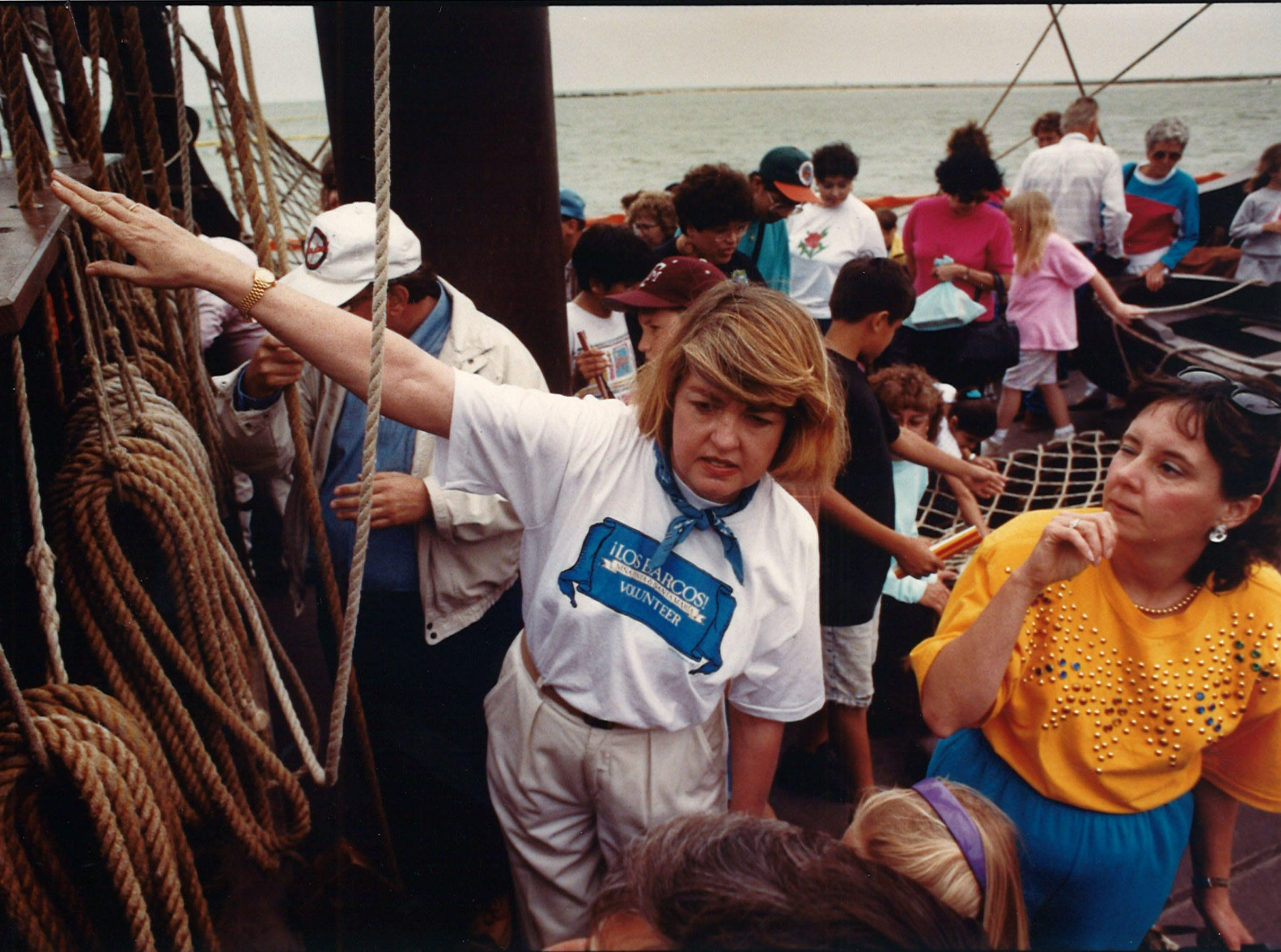 A tour guide explains the ship's rigging during the Los Barcos festival in Corpus Christi in March 1992. The Columbus ship replicas visited the city for 10 days during the 500th anniversary tour of Columbus' voyage to the Americas.