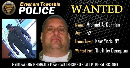 Michael A. Carrion of New York is wanted by Evesham police for allegedly impersonating an inspector at a Dunkin' store in March.