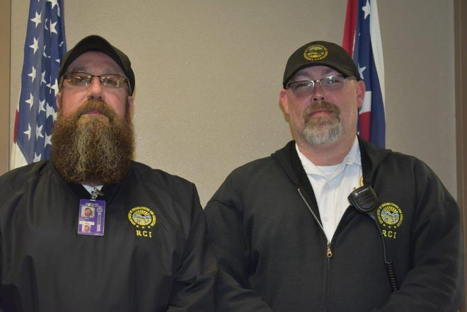 Charles Bell (left) and David Tumbleson are Ross Correctional Institution's 2019  Correctional Officer of the Year and  Employee of the year, respectively.