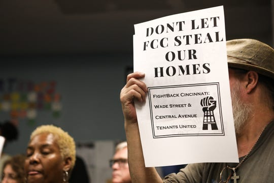 West End community members gathered at Seven Hills Neighborhoods Houses to argue against their displacement for the FC Cincinnati stadium.