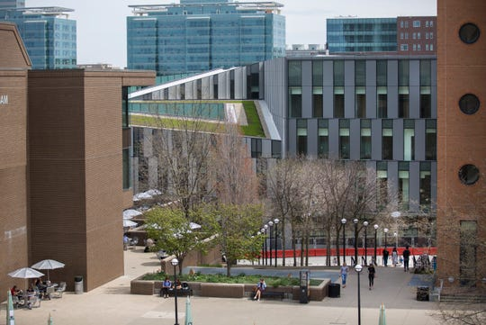 A view of the new Lindner College of Business that is under construction on the University of Cincinnati's main campus in Clifton. The $120 million building will have 225,000 square -feet of space and will open in September.