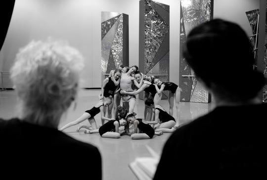 Victoria Morgan, Cincinnati Ballet artistic director, watches during rehearsal of Victoria Morgan's Dancing to Oz at the Cincinnati Ballet in Cincinnati on Wednesday, April 17, 2019.