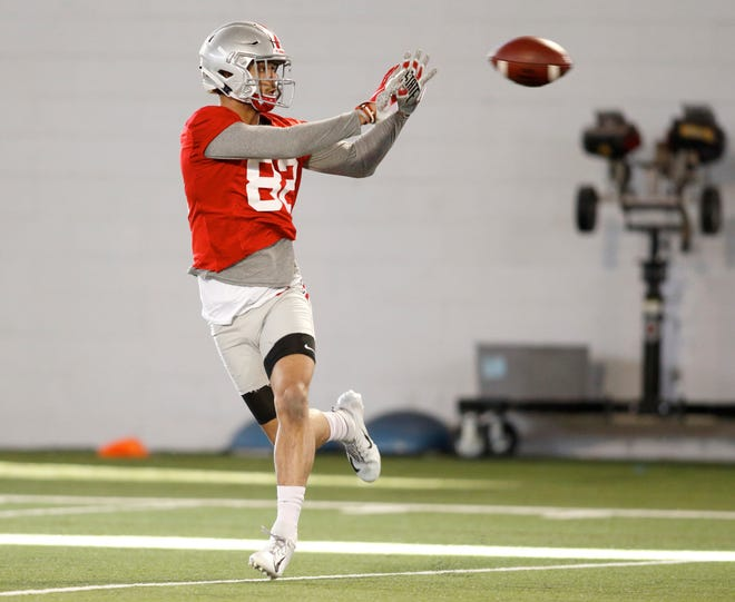 Ohio State University wide receiver Garyn Prater makes a catch during an NCAA college football practice in Columbus, Ohio, Wednesday, March 6, 2019.