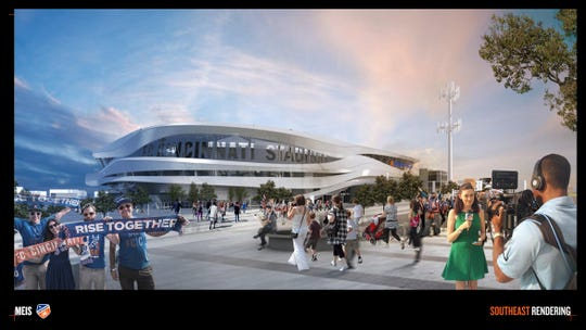 New rendering shows what the outside of the FC Cincinnati stadium will look like.