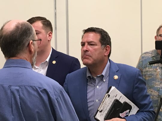 Congressman Mark Green meets with constituents after a town hall meeting at Civic Hall in Clarksville on Monday, April 22, 2019.