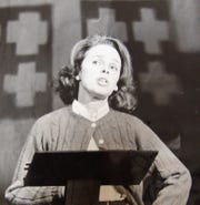"""Bettsy Gauerke performing in """"Spoon River Anthology,"""" in 1972, the last play performed at the old theater at the Coshocton County Fairgrounds before moving to the Triple Locks Theater."""