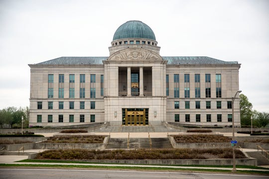 Outside Iowa's Supreme Court and the Iowa Judicial Branch Building on Monday, April 22, 2019, in Des Moines.