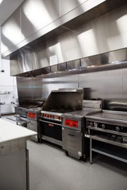 The Kitchen at The Hall  is seen before the opening on Tuesday, April 23, 2019, in Des Moines.