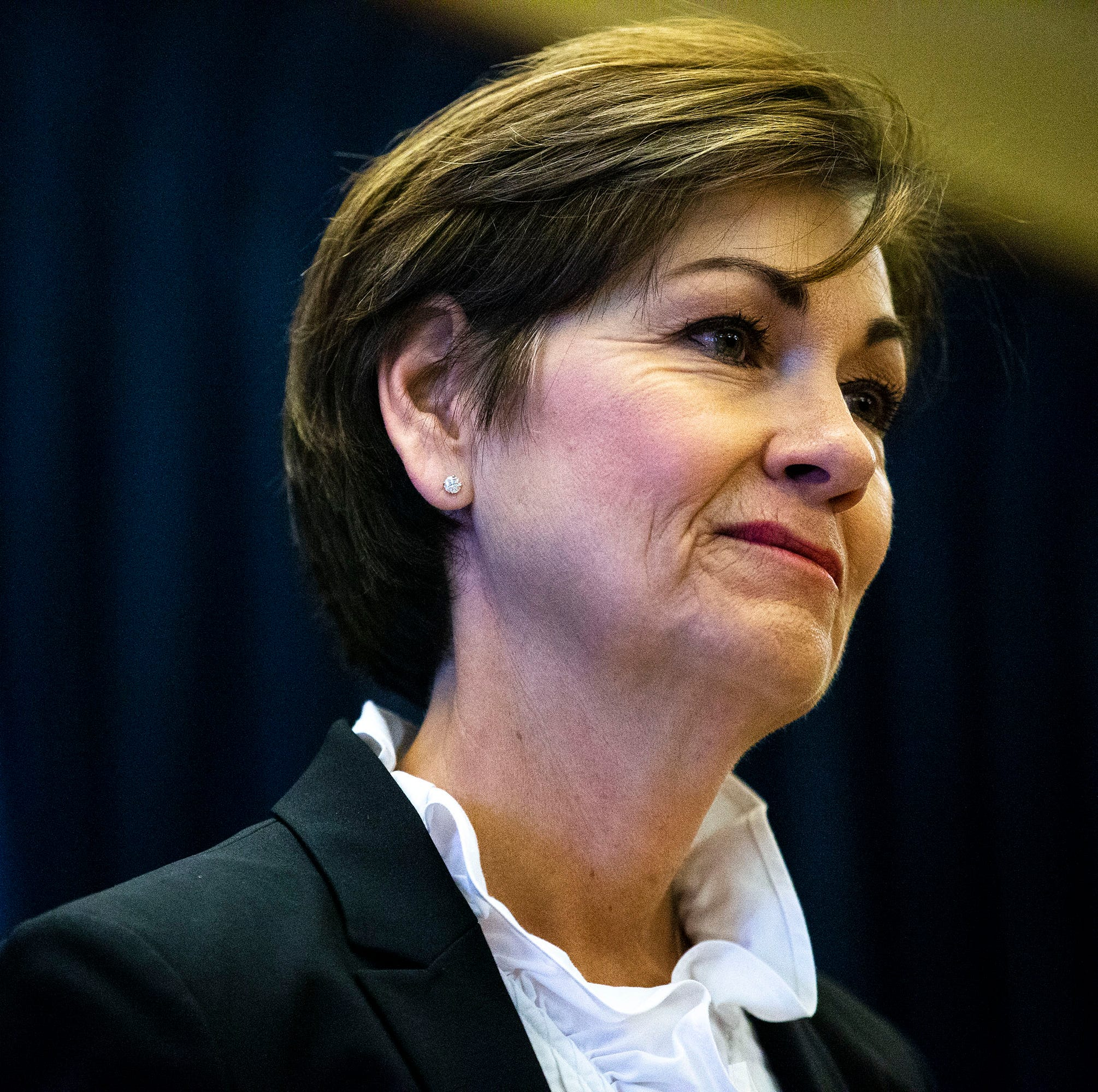 Governor Kim Reynolds speaks to the press and takes questions during a news conference on Tuesday, April 23, 2019, at the Iowa State Capitol in Des Moines.
