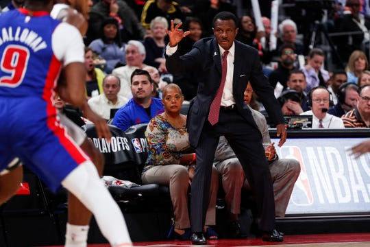 Pistons head coach Dwane Casey watches a play during Game 4 against the Bucks last season.