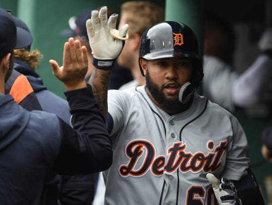 Tigers shortstop Ronny Rodriguez is greeted in the dugout after hitting a home run during the sixth inning in the first game of a doubleheader on Tuesday, April 23, 2019, in Boston.