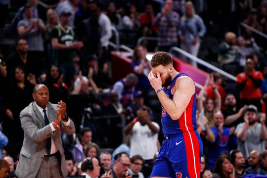 Pistons forward Blake Griffin walks off the court after he fouled out during the fourth quarter of Game 4 of the playoff series against Bucks at Little Caesars Arena in Detroit, Monday, April 22, 2019.