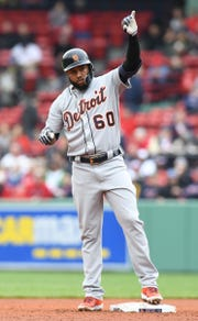 Tigers shortstop Ronny Rodriguez reacts after hitting a RBI double during the fourth inning in the first game of a doubleheader on Tuesday, April 23, 2019, in Boston.