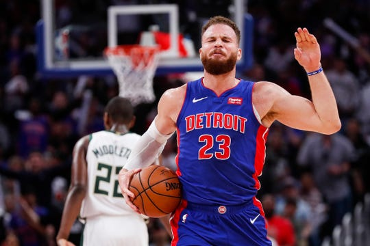 Pistons forward Blake Griffin reacts to a foul call on a teammate during the second half of Game 4 of the playoff series Bucks at Little Caesars Arena in Detroit, Monday, April 22, 2019.