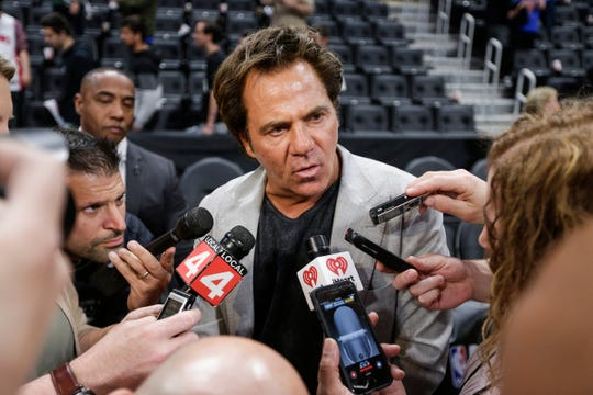 Pistons owner Tom Gores addresses the media after the season-ending loss to the Bucks at Little Caesars Arena on Monday.