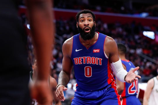 Pistons center Andre Drummond reacts to a foul during the first half of Game 4 of the playoff series against Bucks at Little Caesars Arena in Detroit, Monday, April 22, 2019.
