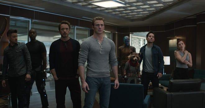 """Jeremy Renner, Don Cheadle, Robert Downey Jr., Chris Evans, Karen Gillan, Paul Rudd and Scarlett Johansson in """"Avengers: Endgame."""""""