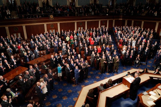 NATO Secretary General Jens Stoltenberg addresses a Joint Meeting of Congress on Capitol Hill in Washington, Wednesday, April 3, 2019, having been invited by the bipartisan leadership of the House of Representatives and the Senate. (AP Photo/Patrick Semansky)