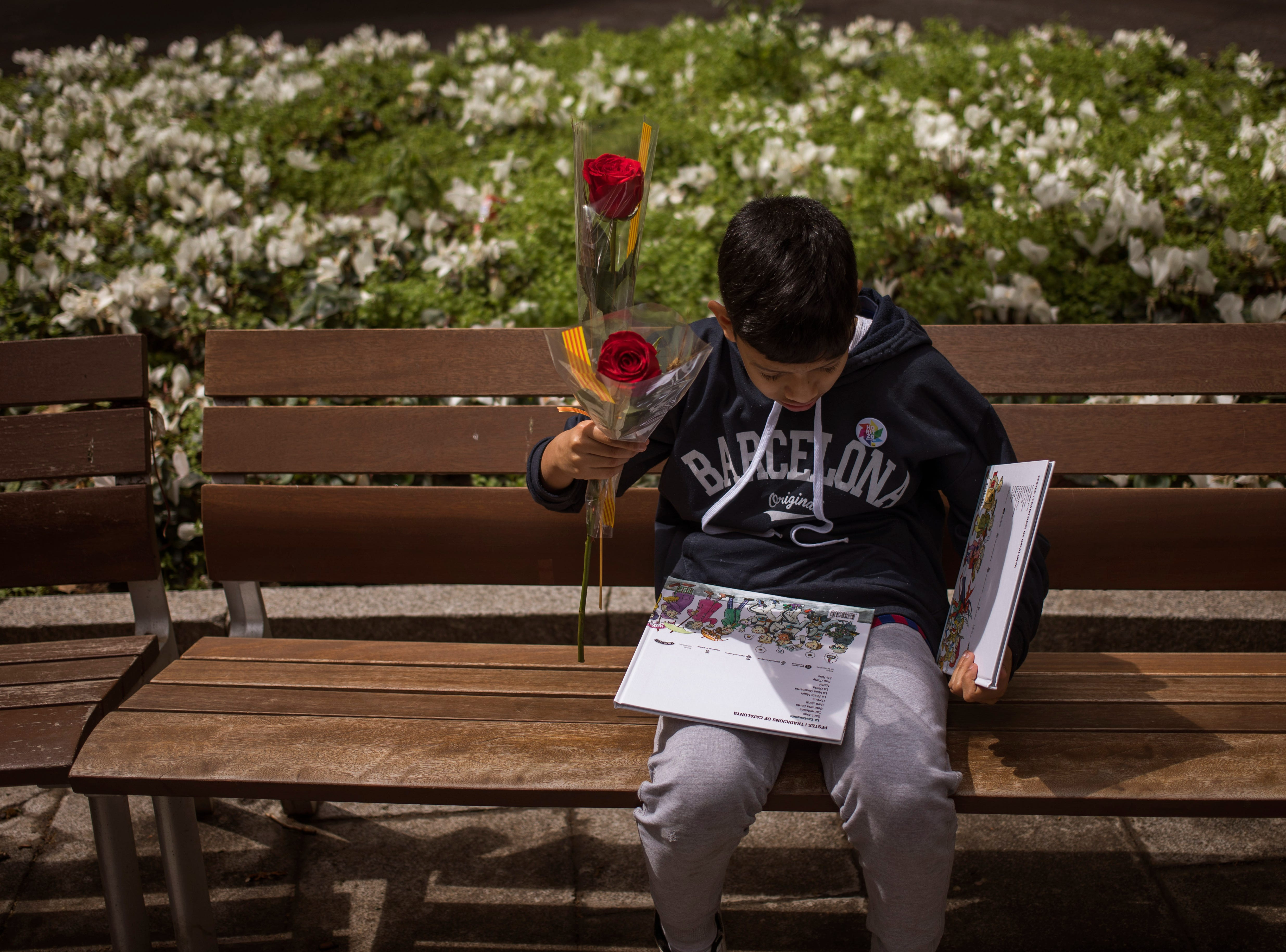 A boy hold roses as he reads a book after buying it at a makeshift stand as Catalans celebrate the day of their patron saint in Barcelona, Spain, Tuesday, April 23, 2019. Sant Jordi, or Saint George in English, is one of the most important holidays in Catalan culture. To mark the date, lovers close friends and family traditionally gift each other with a red rose and a book.