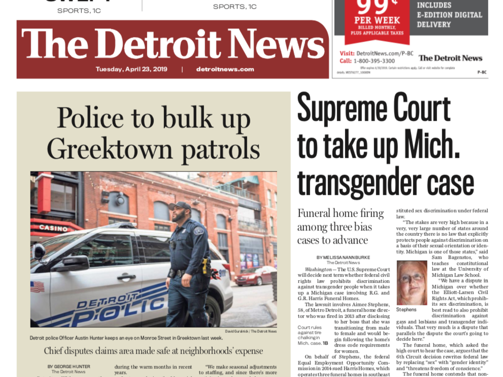 Front page of The Detroit News on Tuesday, April 23, 2019.