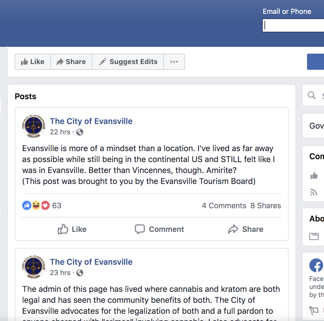 The 'City of Evansville' now has a silly, serious Facebook parody page | Webb