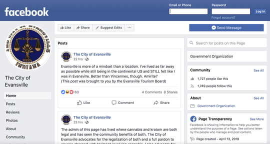 "A Facebook page billing itself as ""The City of Evansville."""