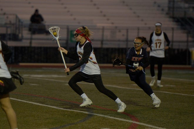 Bree Caffey, shown during an April 22, 2019, game against Kent Denver, and her teammates on the district-wide Rocky Mountain High School girls lacrosse team will host Evergreen at 5:30 p.m. Monday at French Field.