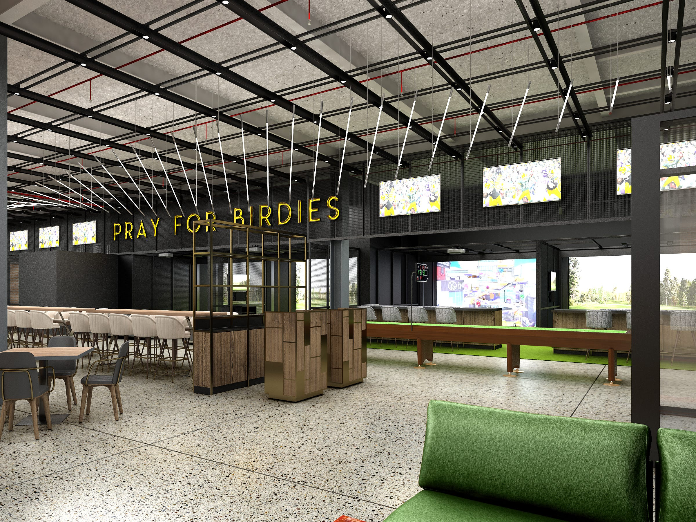 Artist's rendering of a new restaurant and hi-tech entertainment establishment in the Green Bay Packers' TitletownTech building.