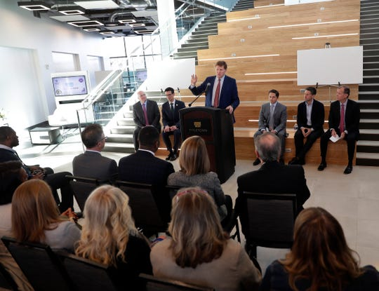 Green Bay Packers president and CEO Mark Murphy speaks at an event April 23, 2019 during which the Green Bay Packers announced partnerships with the owners of the New York Mets and Boston Bruins, and development of a new restaurant and hi-tech entertainment establishment in TitletownTech.