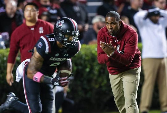 South Carolina offensive coordinator Bryan McClendon watches warm-ups for the game against Tennessee at Williams-Brice Stadium in Columbia, S.C., on Oct. 27, 2018.