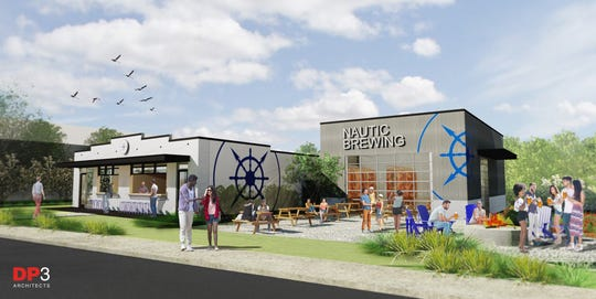 A rendering of the Nautic Brewing, a new brewery and restaurant planned on South Hudson Street north of Unity Park and next to Miracle Hill's rescue mission.