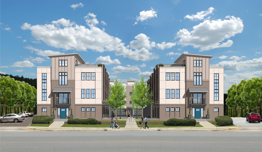 Renderings show the design of a new townhome community set for W. Stone Avenue.