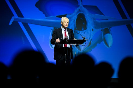 Peter Navarro speaks during a ribbon cutting ceremony for the F-16 fighter jet production line at Lockheed Martin Tuesday, April 23, 2019.