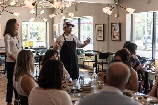 About two dozen members of the Greenville community were in attendance at the Lunch with Lillia event at Fork and Plough restaurant for a meal entirely sourced from South Carolina, Tuesday, Apr. 23, 2019.
