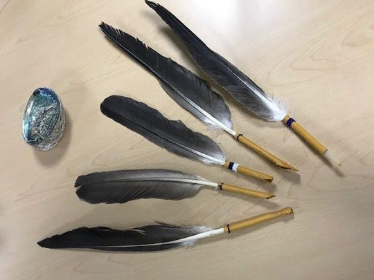 Each graduating Native American student will receive a blessed beaded Eagle Feather from an Elder.