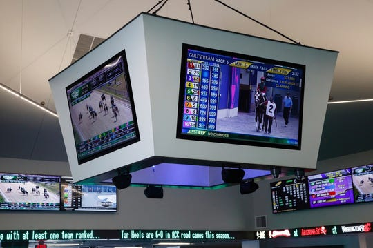 This Feb. 20, 2019, photo shows the new sports book at Prairie Meadows in Altoona, Iowa. A public hearing on proposed rules for Montana's new sports wagering law is scheduled for Monday in Helena.