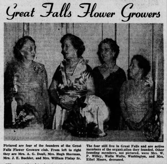 Founders of the Great Falls Flower Growers marked 22 years of the club's efforts to beautify the city in 1955.