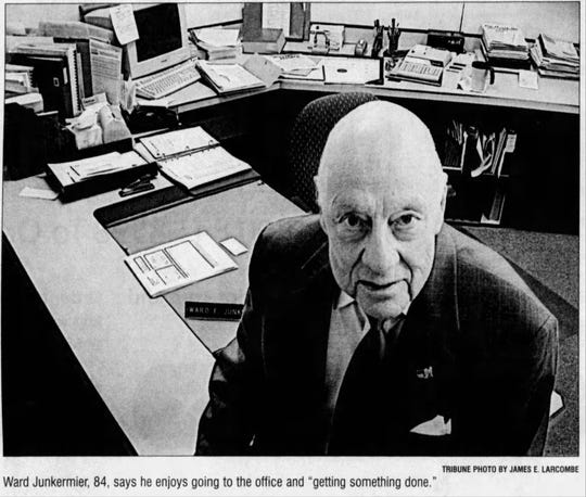 Ward Junkermier founded JCCS Accounting 73 years ago. He worked, happily, at his position until his death at 85.
