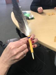 The Native American Enrichment Center has been hosting a weekly Eagle Feather Beading event in which GFC MSU students learned to bead feathers.