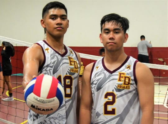 Aidan McDonald, left, and Logan Pangeliinan led the Father Duenas Friars to a 3-0 victory over the previously undefeated Tiyan Titans April 23 at FD's Jungle.