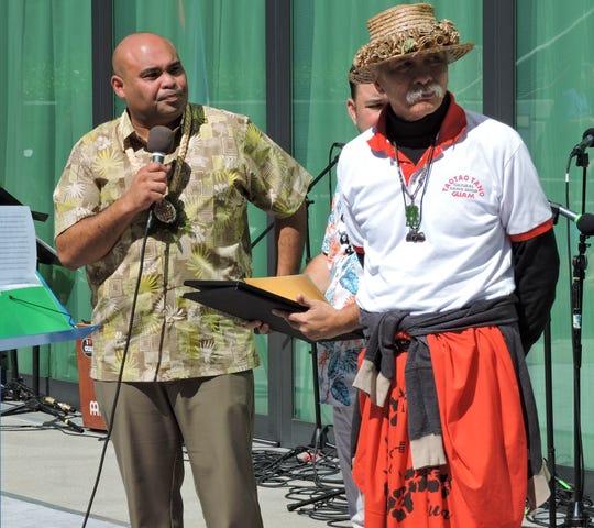 Lt. Gov. Josh Tenorio, left, with Taotao Tano' founder Frank Rabon during the 10th Annual Chamorro Cultural Festival at California State University San Marcos in San Diego, California, March 30, 2019.