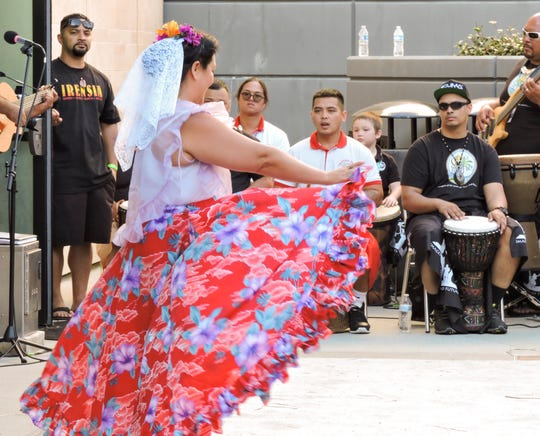 Cultural dancers entertain the crowd during the 10th Annual Chamorro Cultural Festival at California State University San Marcos in San Diego, California, March 30, 2019.