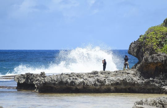 Guam firefighters conduct a search for a missing spearfisherman at Tagachang Bay in Yona on April 23, 2019. The spearfisherman, a male in his thirties, was later found in good health south of Tagachang Bay, according to Guam Fire Department spokesman Kevin Reilly.