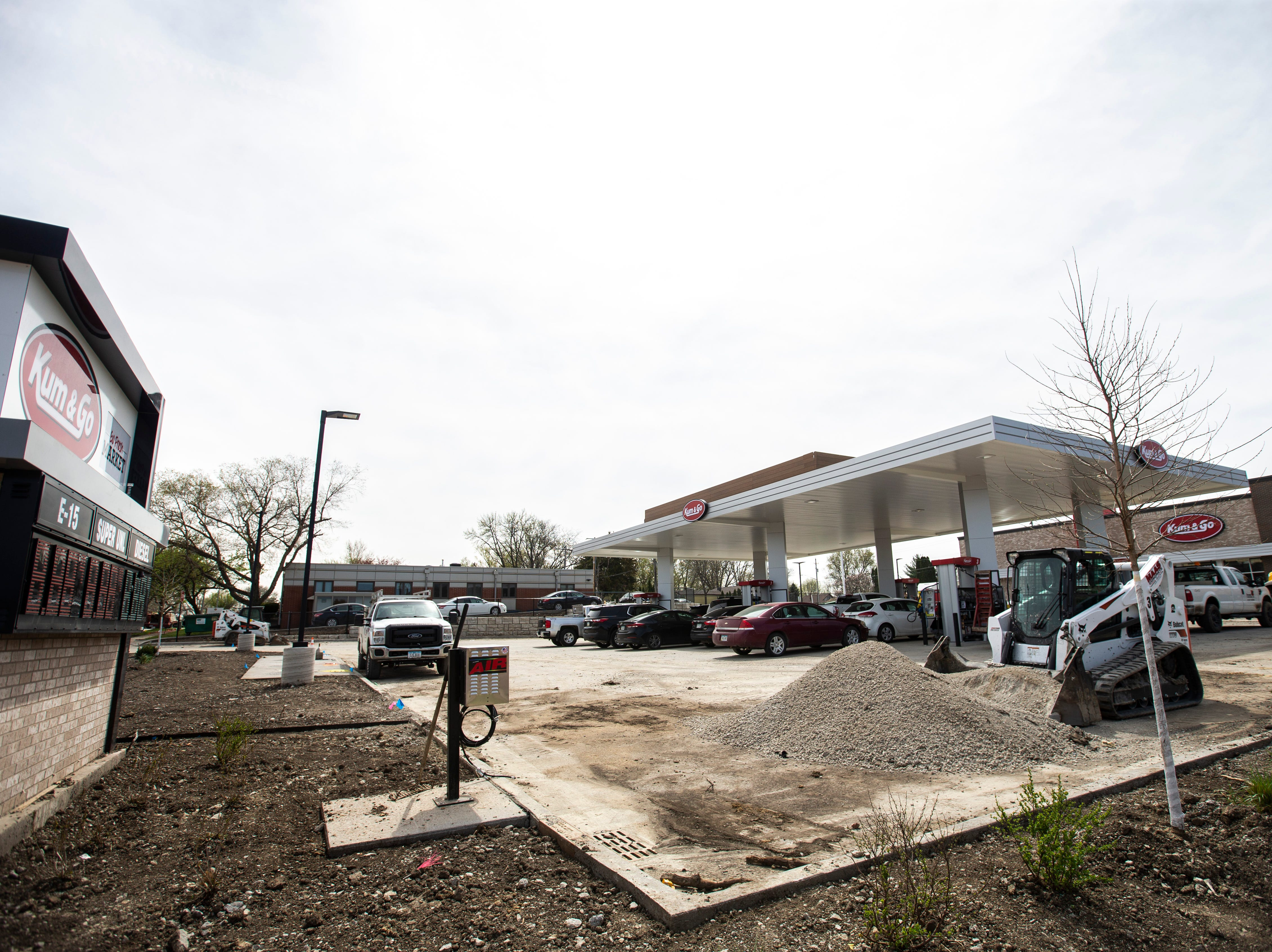 Construction nears competition, Tuesday, April 23, 2019, at a new Kum & Go location on the corner of Muscatine and First Avenues on the east side of Iowa City, Iowa.