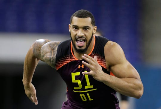 In this March 3, 2019, Mississippi State defensive lineman Montez Sweat runs a drill during the NFL football scouting combine, in Indianapolis. Sweat is a possible pick in the 2019 NFL Draft.