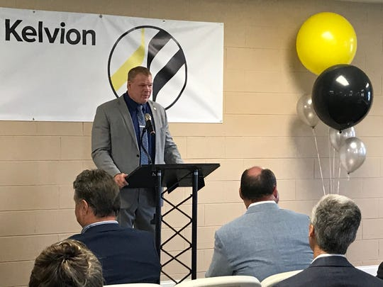 Knox County Mayor Glenn Jacobs speaks at the Tuesday, April 23, 2019, ribbon-cutting for Kelvion's HVAC factory in Forks of the River Industrial Park.