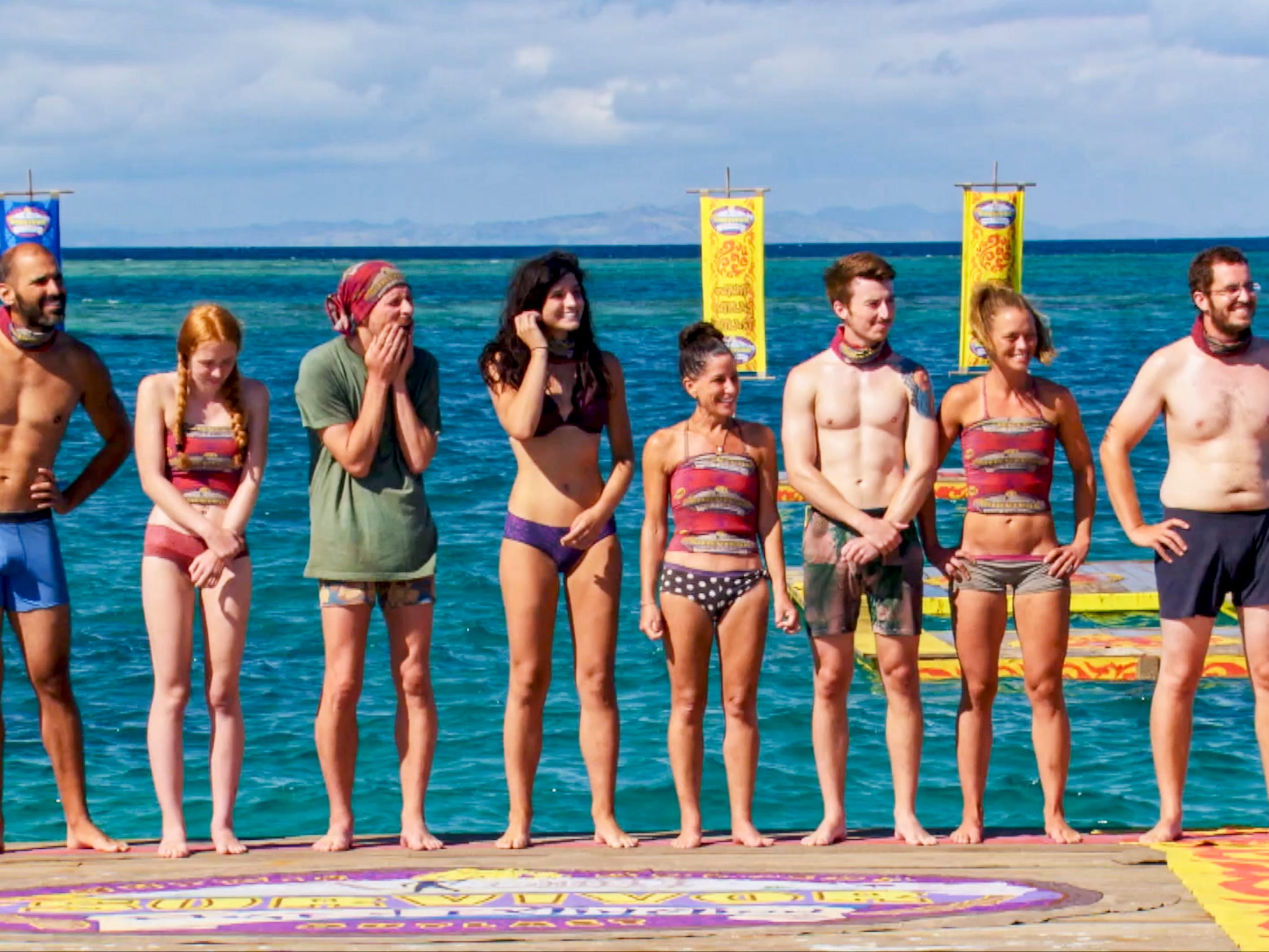 "Dan ""Wardog"" Dasilva, Victoria Baamonde, Ron Clark, Lauren O'Connell, Julie Rosenberg, Gavin Whitson, Aurora McCreary and Rick Devens on ""Survivor: Edge of Extinction."""